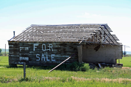 crumbling: Crumbling building for sale propped up in a country field