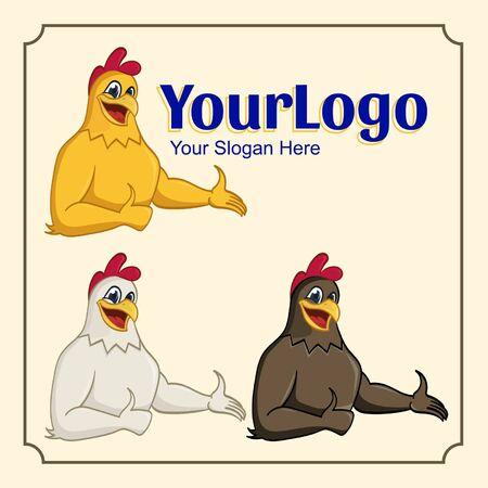 Cute chicken logo mascot cartoon thumb up