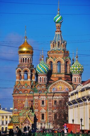 Famous church of the Savior on Spilled Blood on a blue sky background on a bright Sunny day in Saint-Petersburg, Russia