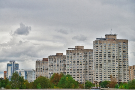 City skyline. Residential area on Vasilyevsky island in Saint Petersburg on a cloudy autumn day.