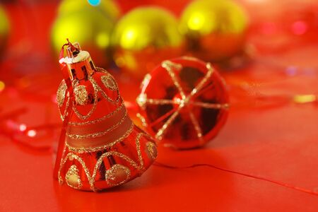 Christmas tree decoration on abstract red background