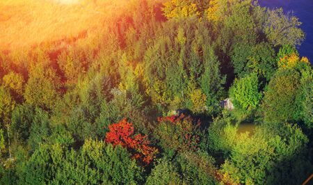 Magnificent natural landscape. Top view of forest green with single yellow-crimson trees, in the field with dry grass and part of the reservoir with blue water on a bright Sunny day of early autumn. Stock Photo