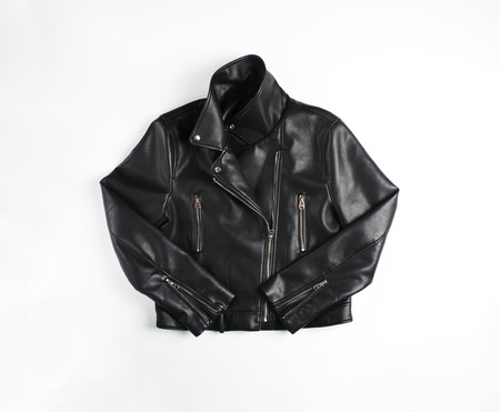 Classic vintage black leather bikers jacket shot from the front isolated on white.