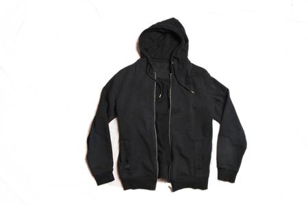 Black Hoodie Isolated on White Background. Front View of Men's Zippered Pullover Hoodies. Zip Up Fleece Hooded Sweatshirt. Full Zip Jumper with Hood. Top Warm Hoody. Long Sleeve Apparel 写真素材