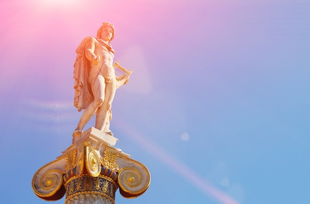 Statue of Apollo, ancient god of music and poetry. Iconic neoclassic Academy of Athens. historic center in Attica, Greece