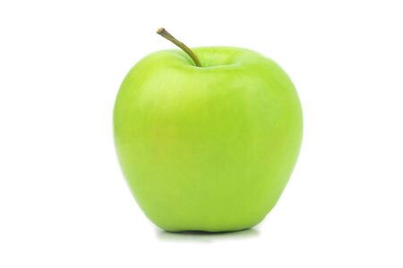 Perfect fresh green apple isolated on white background in full depth of field. Single bio organic healthy fruit food. One bright whole juicy ripe delicious apple closeup. Nature diet concept.