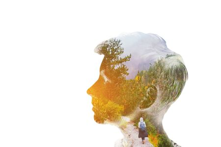 Double multiply exposure beautiful girl head face silhouette portrait on white Standard-Bild