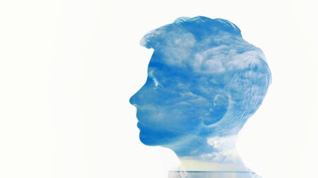 Double multiply exposure beautiful woman head face silhouette portrait white isolated with sea water and cloud nature. Mind psychology, stress therapy, human spirit, mental health, life zen iq concept 免版税图像