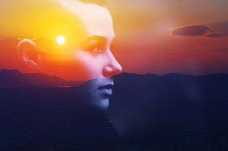 Double multiply exposure abstract dark portrait of a dreamy cute young woman face head silhouette in sky, sunrise or sunset nature. Psychology power of mind, human spirit, mental health, zen concept.