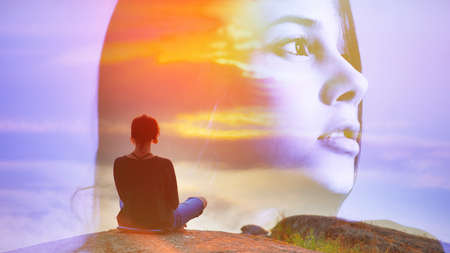 Abstract double multiply exposure girl head portrait outdoors on nature, Beautiful woman sits back in a pose of a lotus practice air yoga meditation, amazing top view lake sunset.