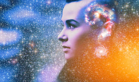 Double multiply exposure abstract portrait of young woman face with galaxy universe space inside head. Human mind spirit, ai brain, astronomy, ask question answer concept Banque d'images