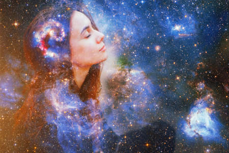 Double exposure portrait of a young woman close eye face with galaxy space inside head. Human inner peace, star light fire, life zen girl love, rpa ai concept.
