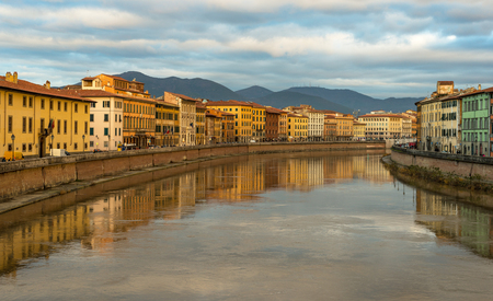 river arno: Cityscape of Pisa, view of  River Arno, Tuscany, Italy