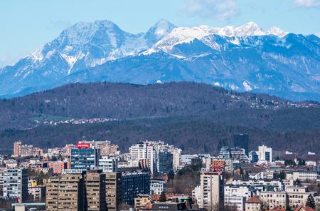 mercator: Alps over Ljubljana city at spring day, Slovenia, April of 2015