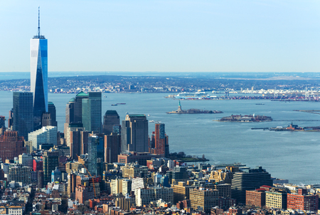 world trade center: New York - April of 2015, USA:  Aerial view of Manhattan skyline and One World Trade Center