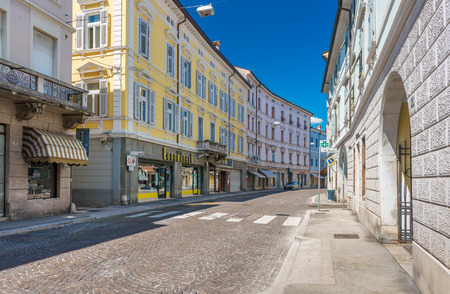 empty street: Gorizia (Nova Gorica) - June 2016, Italy: View on empty street of Giosue Carducci, Euromarket and Pharmacy Editorial