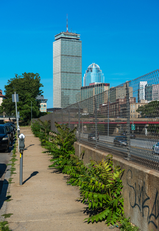 prudential: Boston, MA - July 2016: The Highest Boston skyscraper Prudential Tower, view from sidewalk near the highway Editorial