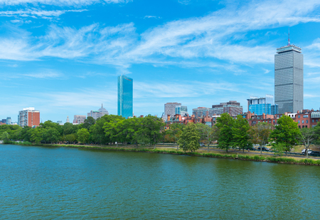 prudential: Boston, MA - June 2016, USA: View from Charles River on Prudential Tower  and  historical buildings in Back Bay Editorial