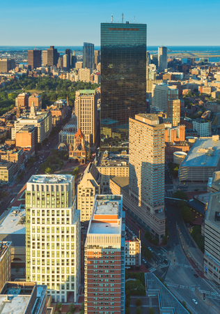 prudential: Boston, MA - June 2016, USA: View from Prudential Tower on Boston downtown and John Hancock skyscraper during the sunset Editorial