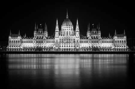 Budapest Parliament at night, main landmark of The Hungarian capital, black and white photo