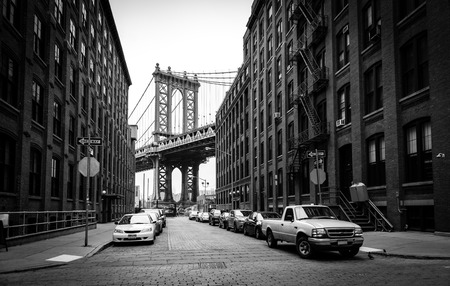 Manhattan Bridge, view from Washington street in Brooklyn, black and white, New York City, USA