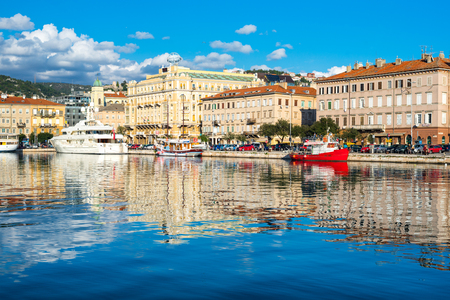 Rijeka - June of 2012, Croatia: View of Rijeka skyline and harbor, cityscape of the city center Sajtókép