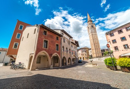 Pordenone - May of 2015, Friuli Venezia Giulia region, Italy: View of Palazzo Ricchieri, Palace in the center of the city Editorial