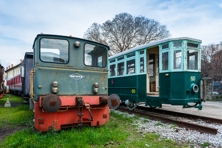 tramway: Trieste (Friuli Venezia Giulia region) - March 2016, Italy: Old  locomotive and tram in Railroad Museum (Museo Ferroviario di Trieste)