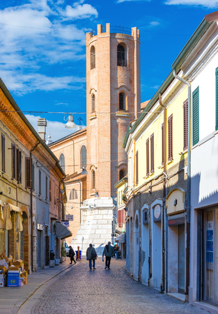 venice: Comacchio - October 2016, Province of Ferrara, Italy: View of San Cassiano Church Tower, landmark of a small Italian town of Comacchio, also known as Editorial