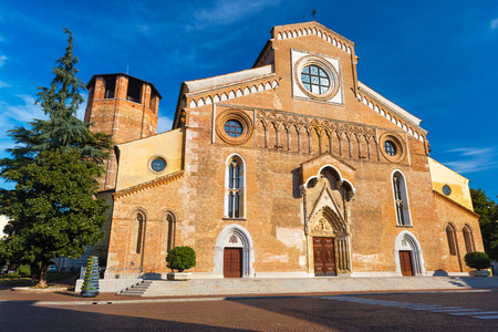 Udine - February 2017, Northern Italy: Wide angle view of The Roman Catholic church in the center of Udine (Duomo di Santa Maria Annunziata)