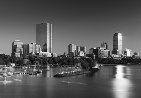 docked: Boston skyline in the evening, Back Bay district, Massachusetts, USA Stock Photo