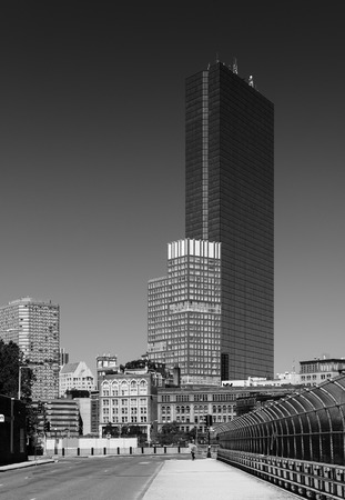 Boston - June 2016, MA, USA: John Hancock skyscraper in Back bay Boston, black and white photo