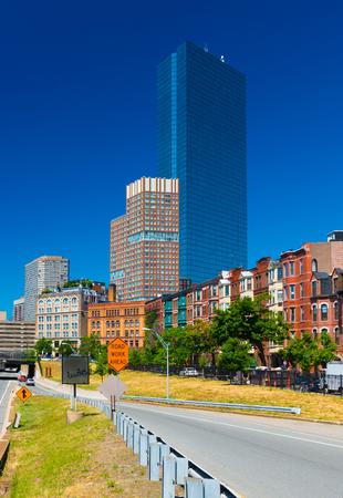 Boston - June 2016, MA, USA: View of the John Hancock tower in Back bay Boston