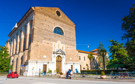 Padua - February 2017, Veneto region, Italy: Catholic Church (Parish - Parrocchia Santa Maria del Carmine) made of red bricks. Traditional architecture style, Northern Italy.