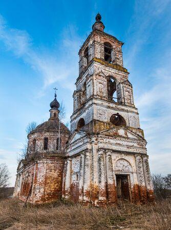 Ivanovskoye settlement (Privolzhsk) - April 2017, Russia: The old abandoned Church of Nativity of John Precursor. Ivanovo region. Russian cultural heritage