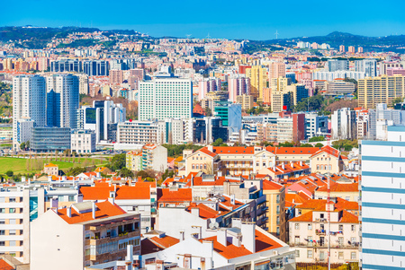 Panoramic view of a modern city with commercial and residential buildings, Lisbon, Portugal