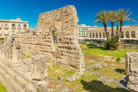The Temple of Apollo on Ortygia (Ortigia) Island. Importatnt ancient Greek monument in Syracuse, Sicily, Italy Stock Photo