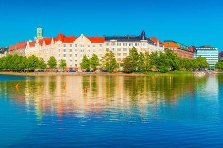 Cityscape reflected in water. Helsinki, Finland Stockfoto