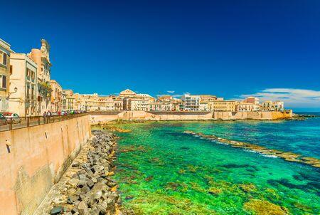 Scenic view of a promenade in Syracuse (Ortigya), Sicily, Italy. Picturesque coastline in the famous Sicilian town