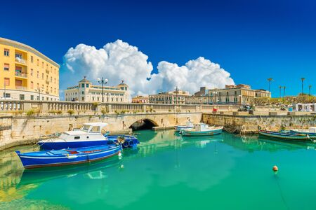 Scenic view of Ortygia (Ortigia), Syracuse, Italy. Cityscape of the famous historical place on Sicily