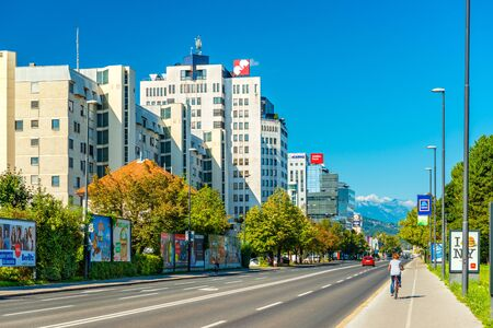 Ljubljana - September 2019, Slovenia: Modern residential and office buildings on one of the principal streets in the city