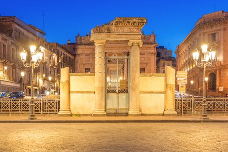Catania - April 2019, Italy: Entrance Gate to the Roman Amphitheater of Catania