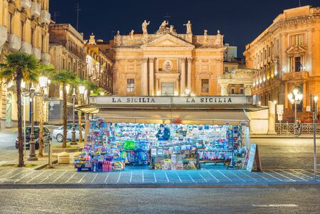 Catania - April 2019, Italy: A newsstand La Sicilia (The Sicily) on one of the major squares of the city