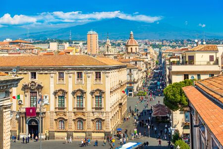 Catania - April 2019, Italy: Panorama of the famous Sicilian city with Mount Etna in the background