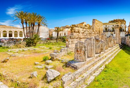 Syracuse - April 2019, Sicily, Italy: The Temple of Apollo in Ortygia Island, one of the major landmarks of the city Sajtókép