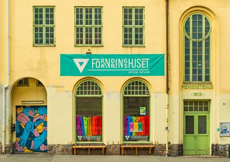Oslo - June 2019, Norway: View of the Culture and Activity house in Oslo (Forandringshuset). Facade of an old historical building (Menighetshus)
