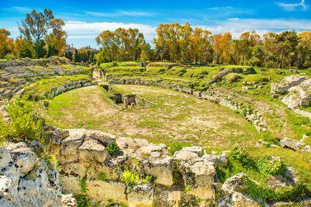 Syracuse - April 2019, Italy: The Roman Amphitheater in the Neapolis Archaeological Park Sajtókép