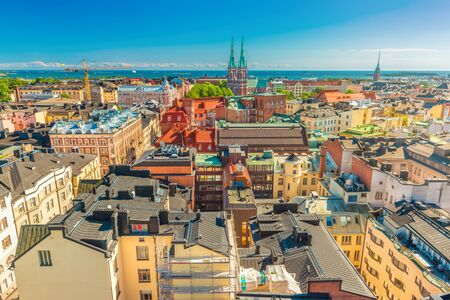 Aerial panorama of Helsinki on a summer day with the clear blue sky, Finland Stock fotó