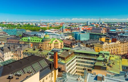 Cityscape of Helsinki, Finland. Aerial panorama of the Finnish capital city