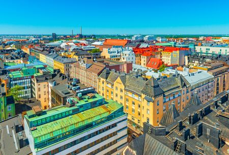 Aerial panorama of Helsinki, Finland. Historical and modern buildings in the central part of the city Stock fotó